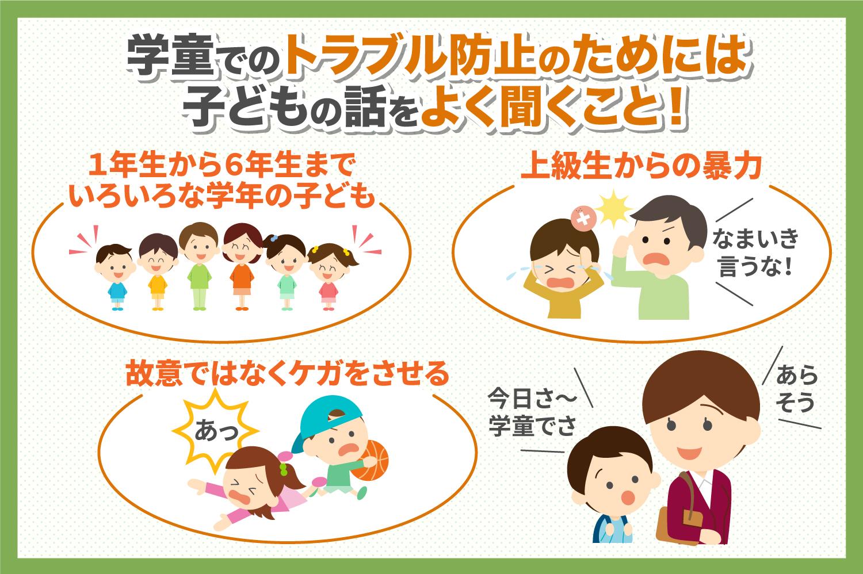 学童でのトラブル防止のためには子どもの話をよく聞くこと!