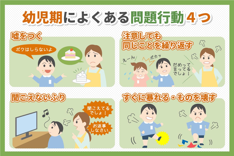 幼児期によくある問題行動4つ